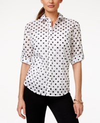Karen Scott Polka Dot Button Down Shirt Only At Macy's Deep Black