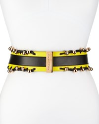 Versace Ladies Leather Color Block B Black Yellow