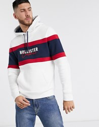 Hollister Tech Logo Hoodie In White