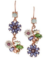 Betsey Johnson Rose Gold Tone Faceted Bead Flower Mismatch Drop Earrings