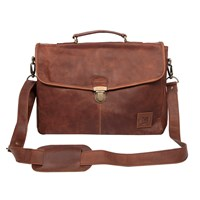Mahi Leather Yale Clip Up Satchel Briefcase Bag With 15 Laptop Capacity In Vintage Brown