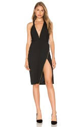 Michelle Mason Plunge Zipper Dress Black