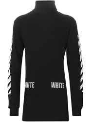 Off White Striped Detail Roll Neck Sweater Black