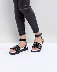 Emporio Armani Logo Leather Sandal With Wrap Angle Buckle Black White