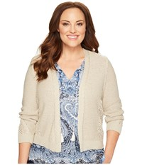 Lucky Brand Plus Size Open Stitch Cardigan Putty Women's Sweater Taupe