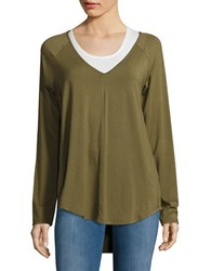 Highline Collective Knit High Low Tunic Green