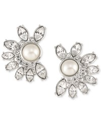 Carolee Silver Tone Imitation Pearl And Crystal Crescent Stud Earrings