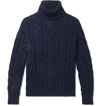 Kingsman Cable Knit Donegal Wool And Cashmere Blend Rollneck Sweater Blue