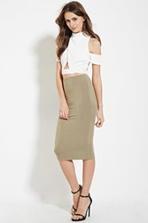 Forever 21 Contemporary Pencil Skirt Olive
