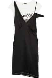 R 13 R13 Layered Silk Satin And Cotton Blend Jersey Dress Black