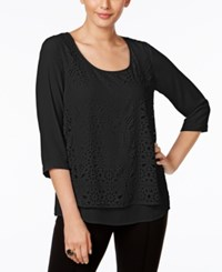 Ny Collection Eyelet Overlay Top Black