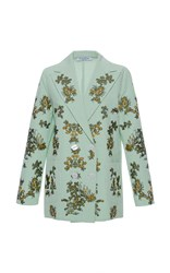 Vivetta Sogliola Embroidered Seersucker Jacket Green
