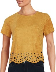 Design Lab Lord And Taylor Faux Suede Grommet Top Mustard