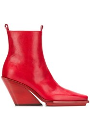 Ann Demeulemeester Block Heel Pointed Boots Red