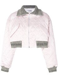 Walk Of Shame Cropped Quilted Jacket Cotton Polyester Pink Purple