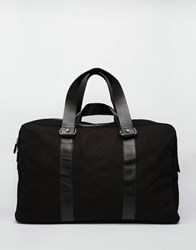 Asos Holdall In Black Canvas With Leather Trims Black
