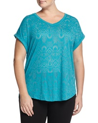 Balance Burnout Rolled Cuff V Neck Tee Capri Blue