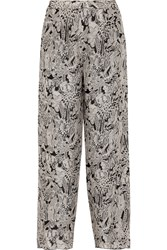 Anna Sui Printed Silk Crepe Wide Leg Pants White