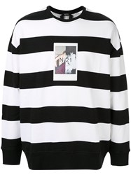 N 21 No21 Photo Print Striped Sweatshirt Black