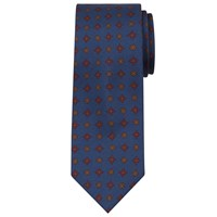 Peckham Rye Made In England Mini Geo Print Silk Tie Blue