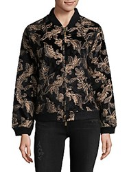 Goldie Embroidered Bomber Jacket Black
