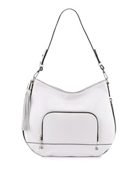 Milly Astor Tassel Zip Trimmed Hobo Bag White