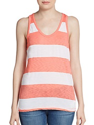 Candc California Striped Racerback Tank Top Coral White