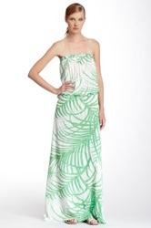 Sweet Pea Strapless Printed Maxi Dress Green