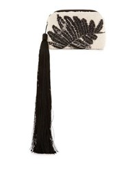 The Row Embellished Tweed Mini Tassel Wristlet Bag White Black White Black
