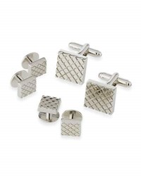 Ike Behar Square Cuff Links And Shirt Studs Set Silver