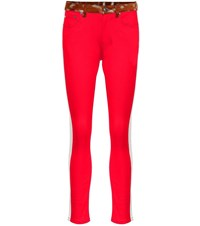 Burberry Mid Rise Straight Jeans Red