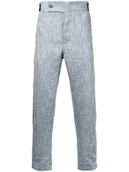 Ann Demeulemeester Contrast Piping Cropped Trousers Men Cotton Linen Flax Xs White