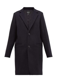 A.P.C. Carver Single Breasted Felted Wool Blend Overcoat Navy