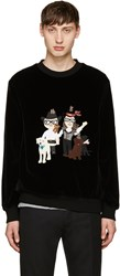 Dolce And Gabbana Black Velvet Designer Family Pullover