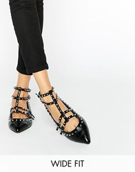 Asos Looking Good Wide Fit Studded Ballet Flats Black
