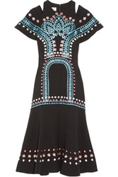 Temperley London Juniper Cutout Embroidered Crepe Dress Black