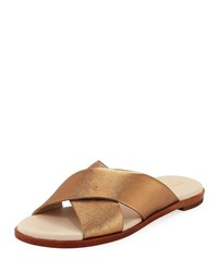 Cole Haan Anica Grand Crisscross Metallic Sandals Gold