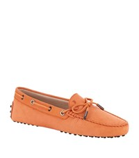 Tod's Laced Gommino Nubuck Driving Shoe Female Orange
