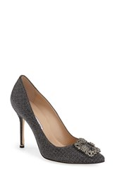 Women's Manolo Blahnik 'Hangisi' Jeweled Pump Black Fabric