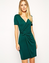 Asos Bodycon Dress With Wrap And Twist Front And Short Sleeves Forestgreen