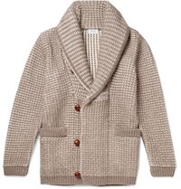 Brioni Shawl Collar Waffle Knit Cotton Wool And Cashmere Blend Cardigan Beige