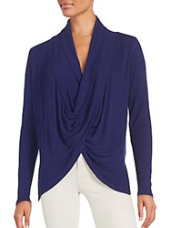 Saks Fifth Avenue Ribbed Drape Knit Top Oxford Heather Grey