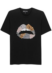 Markus Lupfer Lara Lips Black Cotton T Shirt