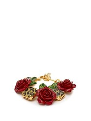 Dolce And Gabbana Leopard And Rose Bracelet Red
