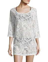 J Valdi Mesh Accented Paisley Cover Up Tunic