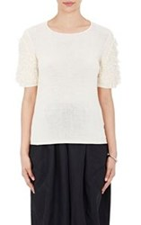Comme Des Garcons Comme Des Garcons Fuzzy Fringed Sleeve Sweater Nude