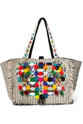 Antik Batik Udipi Embellished Woven Cotton Tote Off White
