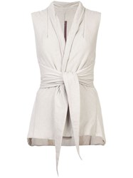 Rick Owens Lilies Belted Waistcoat Grey