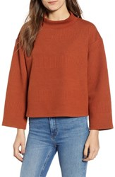 Leith Crop Mock Neck Sweater Brown Spice
