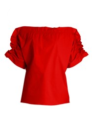 Msgm Off The Shoulder Ruffled Sleeve Top Red